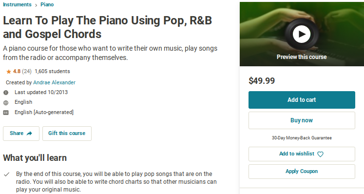 Learn to Play the Piano Using Pop, R&B Gospel Chords