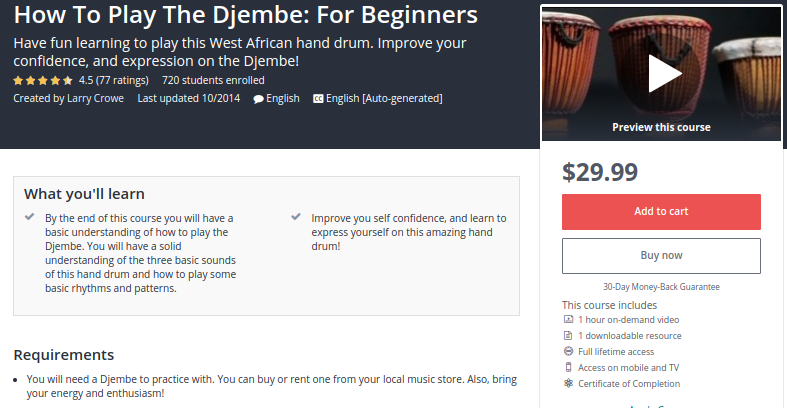 How to Play the Djembe: For Beginners by Udemy