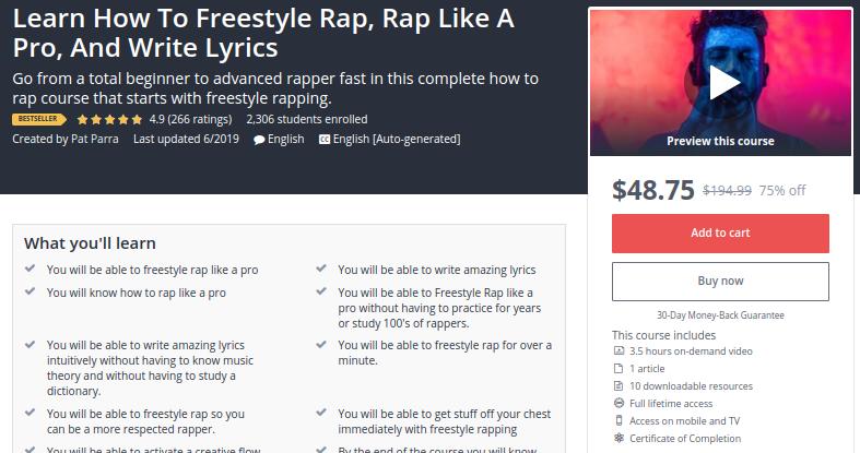 Learn How to Freestyle Rap, Rap Like a Pro and Write Lyrics