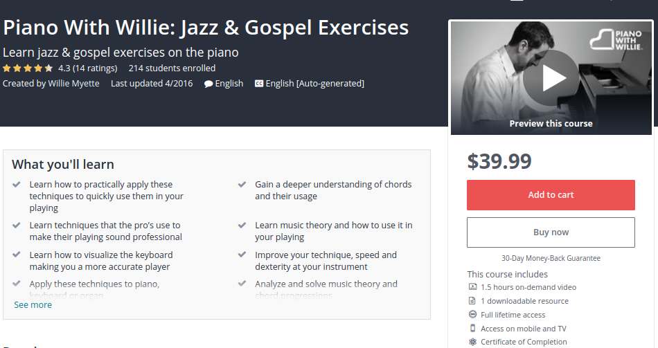 Piano with Willie: Jazz and Gospel Exercises