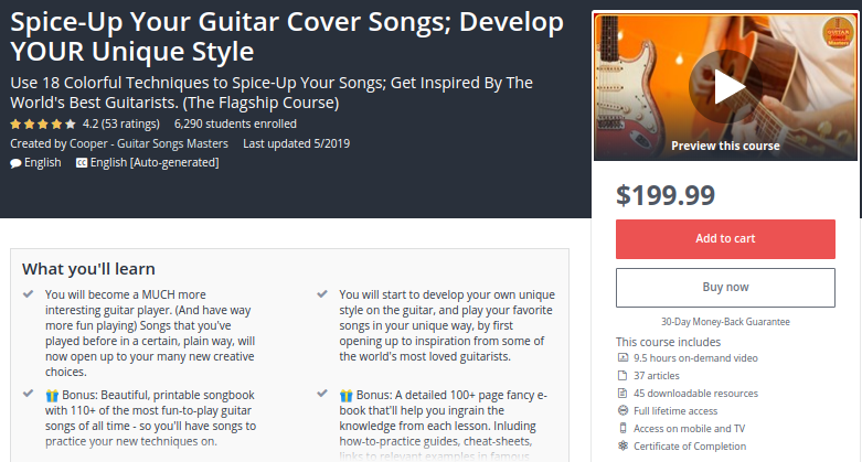 Spice-Up Your Guitar Cover Songs: Develop Your Unique Style by Udemy