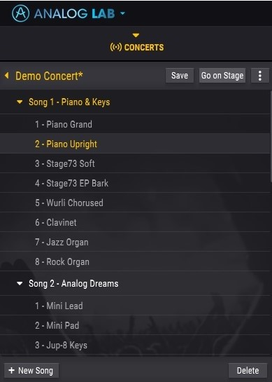 Analog Lab Concerts Tab