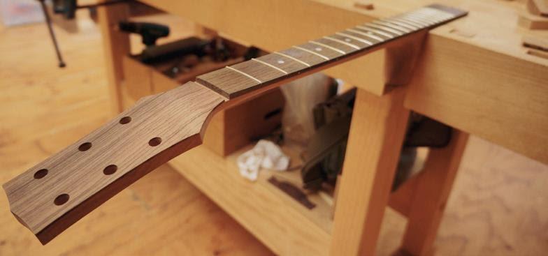preparing the neck of guitar