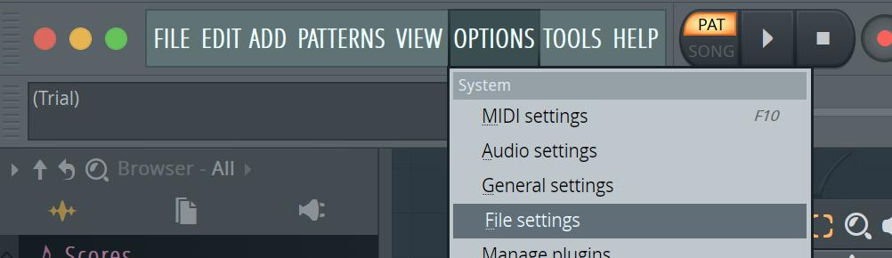 fl studio file settings